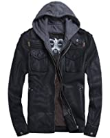 THOOO Men's Cool Zip Up Leather Hooded Biker Jacket Rock Punk Jackets Coat