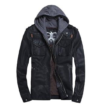 Thooo Mens Cool Zip Up Leather Hooded Biker Jacket Rock