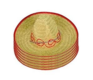 Mexican Straw Sombreros Fiesta Hats 6-pack