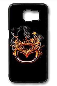 buy S6 Case,Hard Shell Plastic Pc [Black] Cover Snugly Sleek Slim Light Weight Frosted Colorful Vibrant Fit Headphones Port Oil Water Proof Samsung Galaxy S6-Burning Mazda Logo