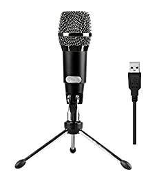 USB Plug and Play Desktop Gaming Microphone With Stand Compatible For Windows PC and Mac- For Gaming Podcasts Yahoo Recording Chatting USB MIC