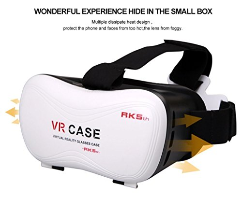 SPEED VR Case with Remote Controller 5.0 Virtual Reality Glasses 3D VR Headsets for 4.7~6 Inch Screen Phones Iphone 4S, Iphone 5s Samsung LG Sony HTC, Nexus 6 (VR-5.0 White) (Samsung Galaxy S4 Case With Lid compare prices)