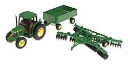Ertl John Deere 6410 Tractor With Barge Wagon And Disk, 1-32 Scale
