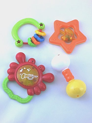 Baby-Rattle-Teether-and-Toy-Set-from-R-Kids-4-Fun-and-Colorful-Toys-These-Quality-Rattles-will-Promote-Hand-Eye-Coordination-and-Sensory-Stimulation-that-will-Entertain-for-Years