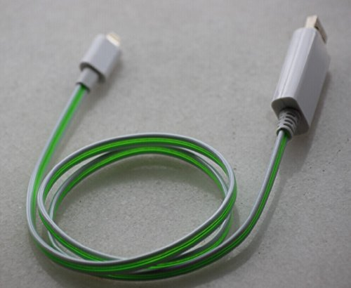 Ds Link Light Up Luminescent Visible Current Flow Smart Charger And Sync Cable For Iphone6 5S 5C Ipad Mini Ipad Air Etc (White/Green) 80Cm