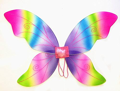 Costume Fairy Wings - Large (34in) Pixie Princess Dress up Wings By Cutie Collection (Adult, Rainbow)