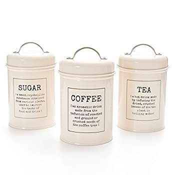 Lavinrose Vintage Kit Tea/Coffee/Sugar Canisters - Set of 3 (Ivory)