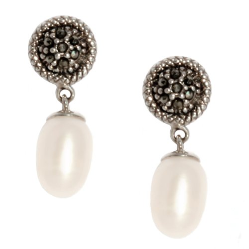 Sterling Silver Marcasite with Freshwater Cultured Pearl Drop Earrings