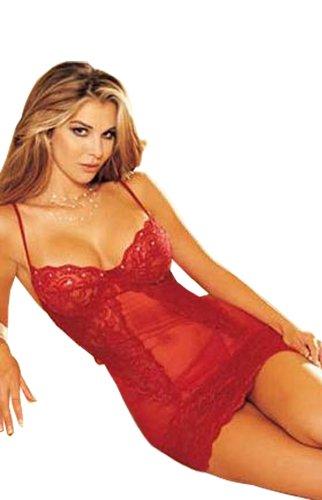POPO UNDERWEAR Sexy Lace Babydoll Set Sexy Sleepwear Lingerie Set - One Size - Red