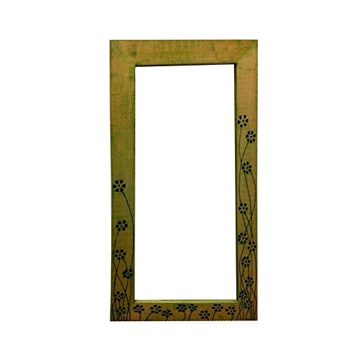 ExclusiveLane Wood carving Mirror Green- Wall Decor/ Gifts