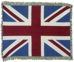 UK United Kingdom Union Jack British Flag Cotton Throw Blanket