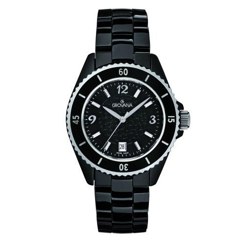 Grovana 4001,1187 - Reloj analógico de cuarzo para mujer, correa de cerámica color negro