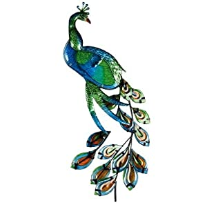 Stained Glass Peacock Garden & Home Wall Art (Green)