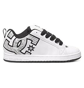 DC Men's Court Graffik SE Skate Shoe,  White/White Print,  7 M US