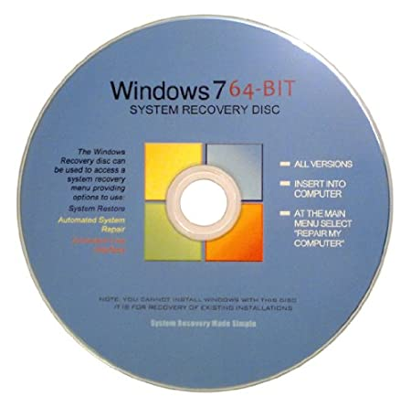 Windows 7 64 Bit Recovery Boot Disc Disk CD [ALL VERSIONS, 2012 Latest]