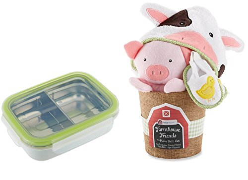 Baby Aspen, Farmhouse Friends 4-Piece Bathtime Bucket + Innobaby Keepin' Fresh Stainless Divided Bento - 1