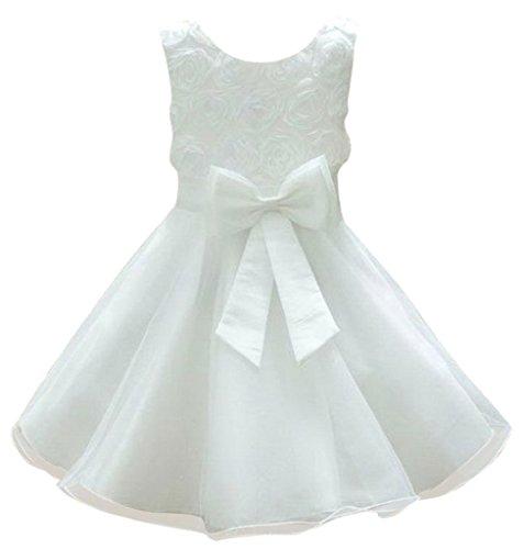 La Vogue-Vestito Bambina Senza Manica di Chiffon e Velo Bianco Petto di 76cm