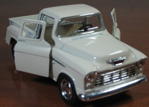 1/32 Scale 1955 Chevy Stepside Pick-up Truck Metal Diecast Model Collection Pull Back Action Kinsmart White - 1