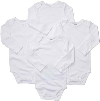 Carter's Unisex-Baby 4-Pack Long Sleeve Bodysuits - White - Newborn