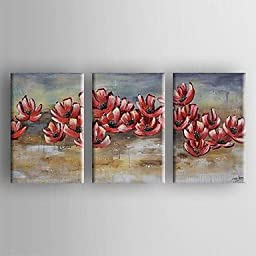 Dudu Oil Painting Modern Abstract Set of 3 Hand Painted Canvas with Stretched Framed
