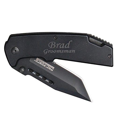 Custom Personalized Black Tactical Pocket Knife - Groomsmen Gift Knife - Monogrammed Engraved for Free