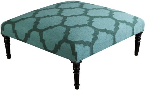 Surya FL1005-404018 Ottoman, 40 by 40 by 18-Inch, Teal/Forest