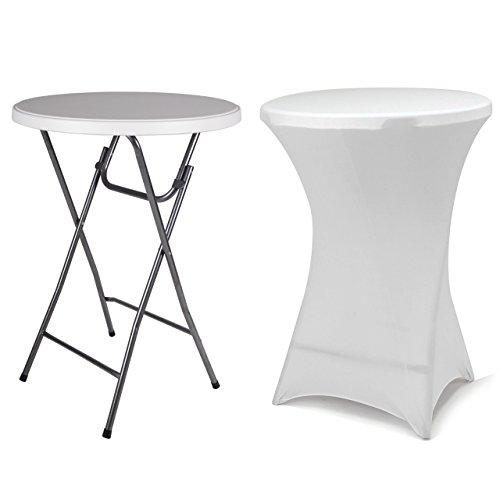 Partytisch-Stehtisch-110-cm-klappbar-mit-Husse-wei-Stretch-waschbar-Bistrotisch-Bartisch-rund-Klapptisch-Stoffbezug-Set