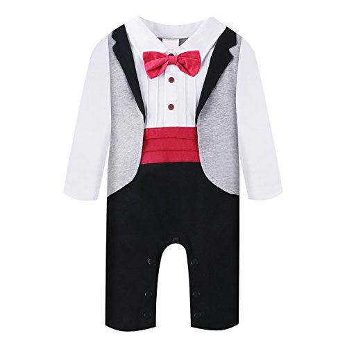 Baby Boy Romper 1pcs Toddler Outfit Clothing Set Tuxedo Jumpsuit & Bowtie Pants (80(6-12 Month), Red)