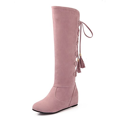 agoolar-womens-kitten-heels-solid-round-closed-toe-frosted-lace-up-boots-pink-43