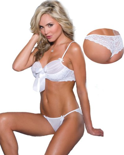 Sexy White Lace See Thru Bridal Lingerie Set