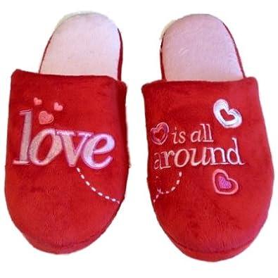 Lovers Womens Red Love Slippers & Sleep Mask Set