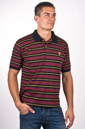 U.S.Polo Assn. men's Poloshirt jersey bordeaux/yellow striped USP1225, Größe:XL