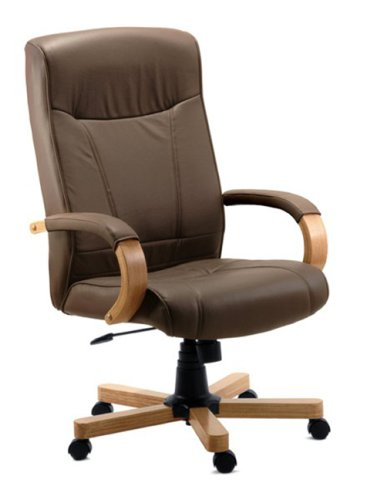 RICHMOND Brown Leather Office Chair (Leather-faced) Oak Arms and Base