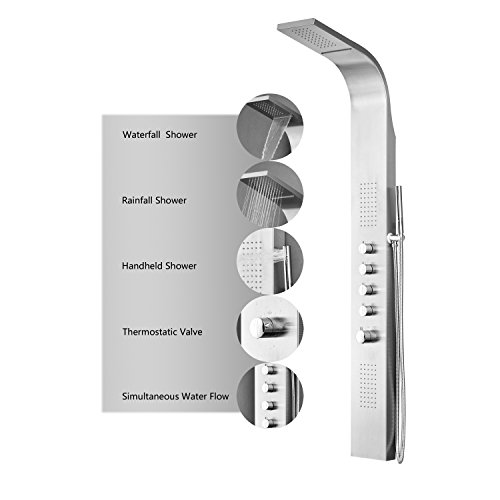 Decor-Star-004-SS-64-Inch-Stainless-Steel-Rainfall-Shower-Panel-Rain-Massage-System-with-Jets-Hand-Shower