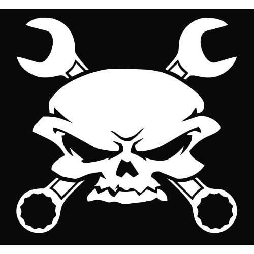 Skull Wrench Crossbones Vinyl Die Cut Decal Sticker