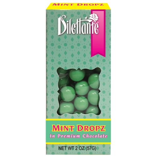 Mint Dropz in Premium Chocolate – 2oz Box – by Dilettante (12 Pack)