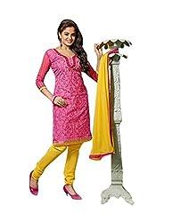 Divya Collection Women's Chudidar Set (MTV1063417-42_Pink & Yellow_42)