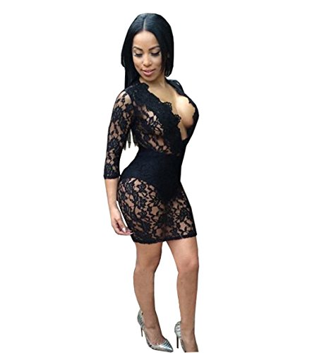 Flashing Zone Sexy Bandage Floral Hollow Lace Outfit Clubwear Bodycon Dress