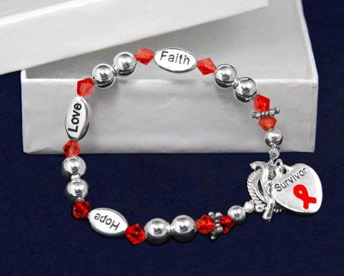 Red Ribbon Bracelet - Survivor Bracelet (18 Bracelets)