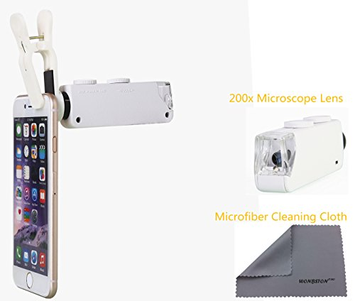 WONBSDOM Univsersal 200X Zoom LED Clip-On Microscope Lens+Microfiber Cleaning Cloth for iPhone 4S 5 5S 5C 6 6plus itouch iPad Samsung Galaxy S3 S4 S5 S6Note 2/3/4 HTC Nokia Sony,etc.