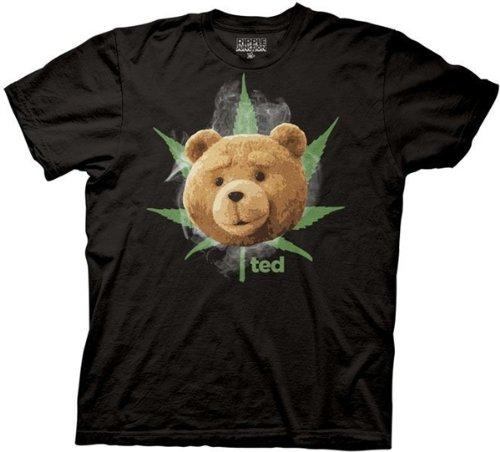 Ted - - Männer Gesichtspflege Mit Potleaf Smoke T-Shirt in Schwarz, XX-Large, Black