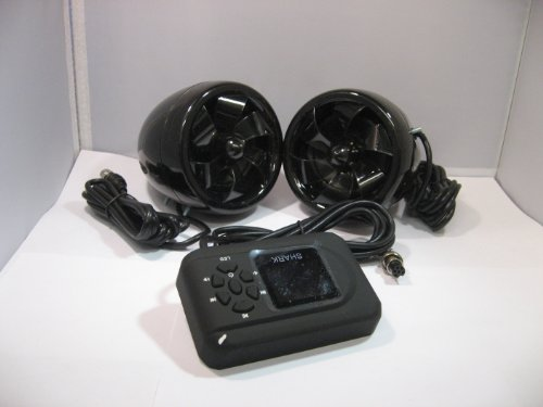Shark Shkbtar-215-Black 300 Watt 100% Marine Waterproof Amp / Speakers Bluetooth Sd Aux Fm W/ Lighted Speakers Black With Lcd Remote