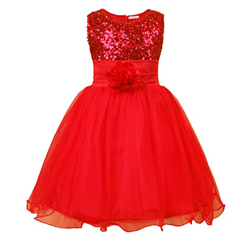 JerrisApparel Little Girls' Sequin Mesh Flower Ball Gown Party Dress Tulle Prom (5, Red)