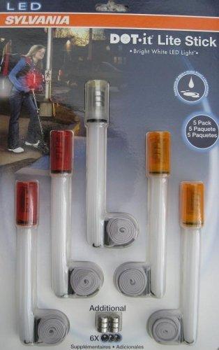 5 X Sylvania Dot-It Coloured Re-Usable Led Neon Rave Light Sticks