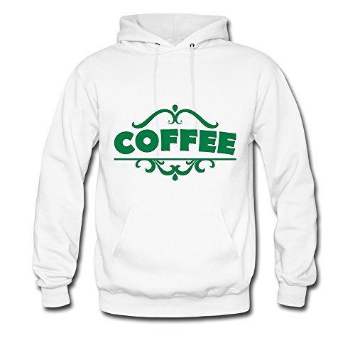 Nasy Men'S Coffee Green Letters Cotton Hooded Sweatshirt L White