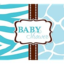 Wild Safari Blue Diecut Gatefold Baby Shower Invitations 25 Per Pack