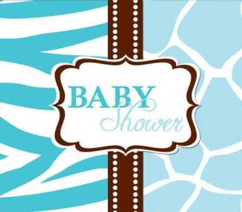 Wild Safari Blue Diecut Gatefold Baby Shower Invitations 25 Per Pack front-48448