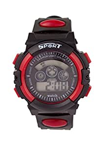 Addic Black And Red Trendy Digital Sports Watch For Children