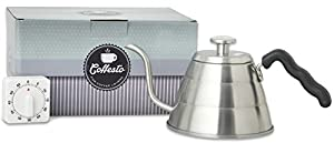 24oz Pour Over Drip KETTLE With Built-In THERMOMETER - With TIMER - Coffesto Gift Box - Durable Stainless Steel - Unique Gooseneck Design For Smooth Water Flow - Perfectly Brewed, Flavorful Coffee
