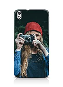 Amez designer printed 3d premium high quality back case cover for HTC Desire 816 (Photo taking girl green cute)